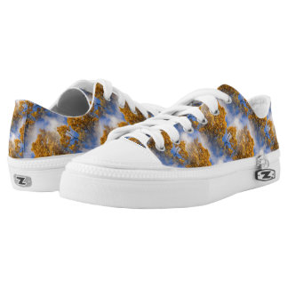 Golden Leaves Blue Sky Nature Pattern Low Tops