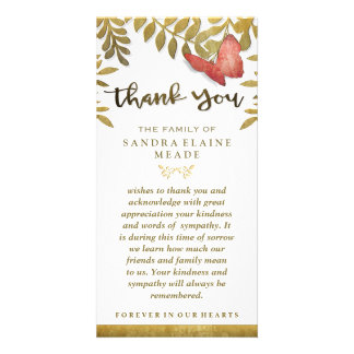 Golden Leaves Floral Butterfly Thank You Sympathy Custom Photo Card
