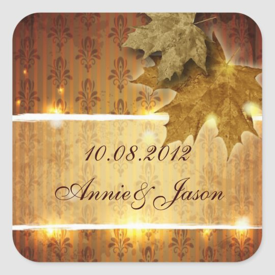 Golden Leaves glamourous Fall Wedding favour Square Sticker