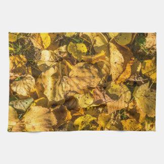 Golden leaves kitchen towel