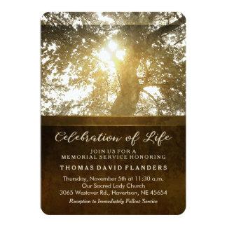 Golden Leaves Nostalgia Memorial Service Invite  Memorial Service Invitation Wording