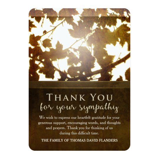 Golden Leaves Nostalgia Thank You Sympathy Card