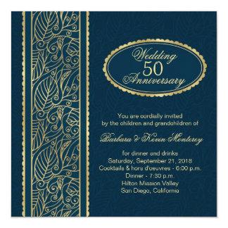 Golden leaves on blue 50th Wedding Anniversary 13 Cm X 13 Cm Square Invitation Card