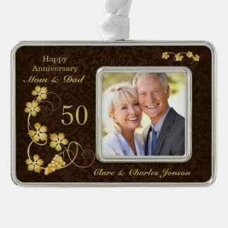Golden leaves on brown 50th Wedding Anniversary Silver Plated Framed Ornament