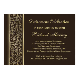 Golden leaves on brown Retirement Party 13 Cm X 18 Cm Invitation Card