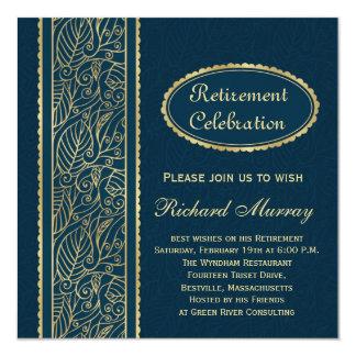 Golden leaves on dark blue Retirement Party 13 Cm X 13 Cm Square Invitation Card