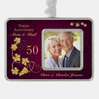Golden leaves on purple 50th Wedding Anniversary Silver Plated Framed Ornament