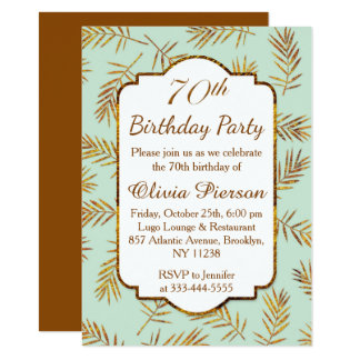 Golden leaves with foil effect 70th Birthday Party 11 Cm X 16 Cm Invitation Card