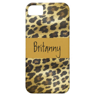 Golden Leopard Fur Animal Print with Name iPhone 5 Case