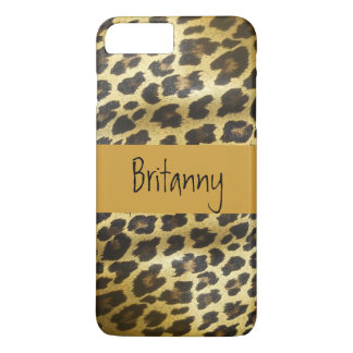 Golden Leopard Fur Animal Print with Name iPhone 7 Plus Case