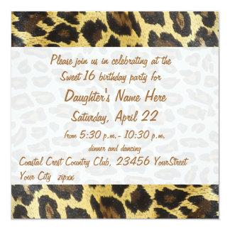 Golden Leopard Print 16th Birthday Invites