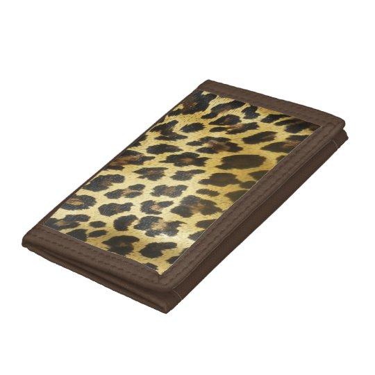 Golden Leopard Print Tri-fold Wallet