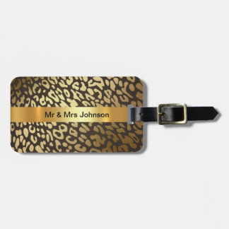 Golden Leopard Skin Vip Luggage leather strap Luggage Tag