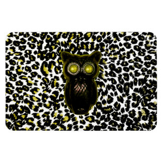 Golden Leopard Spots With Owl Rectangle Magnets