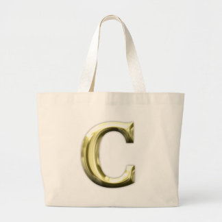 Golden Letter C Shiny Gold Alphabet Jumbo Tote Bag