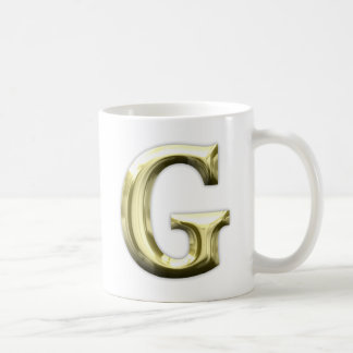 Golden Letter G Shiny Gold Alphabet Coffee Mug