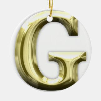 Golden Letter G Shiny Gold Alphabet Round Ceramic Decoration