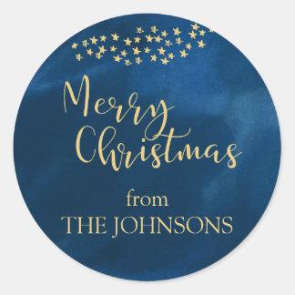 Golden Light of Christmas Classic Round Sticker
