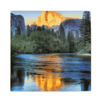 Golden Light on Half Dome Wood Coaster