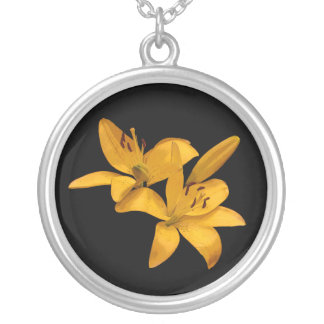 Golden Lilies Silver Plated Necklace
