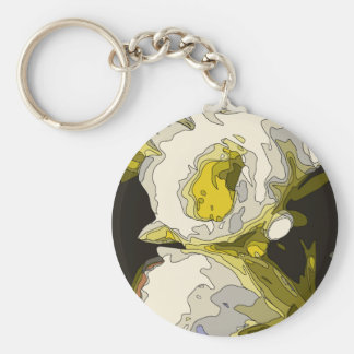 Golden Lily Pond Flower Painting Key Chain