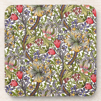 Golden Lily Vintage Floral Pattern William Morris Coaster