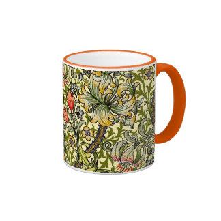 Golden Lily Vintage William Morris Ringer Mug