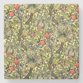 Golden Lily Vintage William Morris Stone Coaster