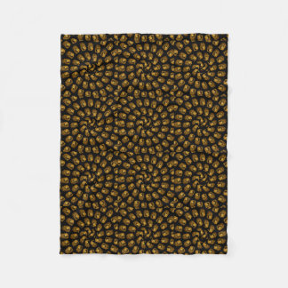 Golden Lion Head Abstract Pattern, Fleece Blanket