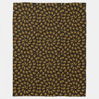 Golden Lion Head Abstract Pattern, Large Fleece Blanket