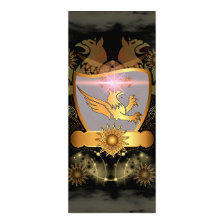 Golden lion on a gold, black shield 4x9.25 paper invitation card