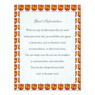 Golden Lion on Red Shield Heraldry 11 Cm X 14 Cm Invitation Card