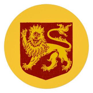 Golden Lion on Red Shield Heraldry Invite