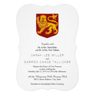 Golden Lion on Red Shield Heraldry Personalized Invite