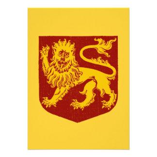 Golden Lion on Red Shield Heraldry Custom Invitation