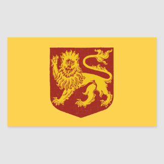 Golden Lion on Red Shield Heraldry Rectangular Sticker