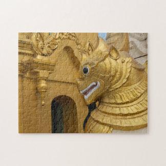 Golden Lion Statue At Temple Jigsaw Puzzle