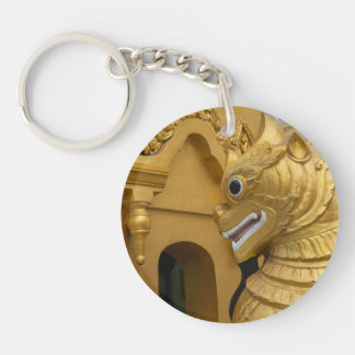 Golden Lion Statue At Temple Key Ring