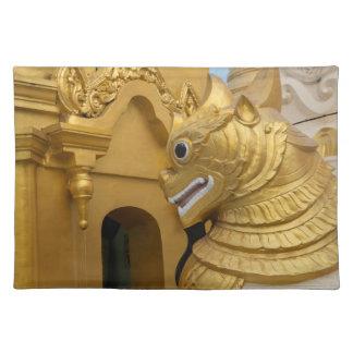 Golden Lion Statue At Temple Placemat