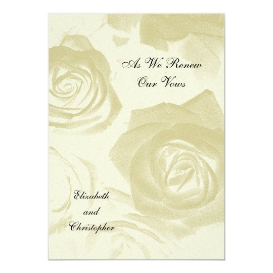 Golden Look Roses Vow Renewal invitation