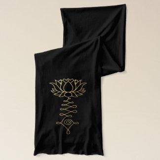 Golden Lotus Black Jersey Scarf