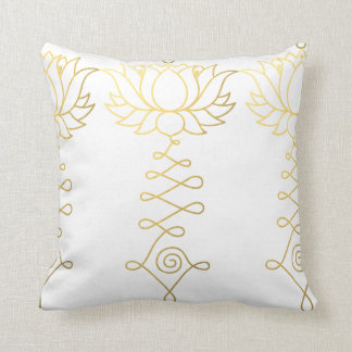 "Golden Lotus Boho Throw Pillow 16"" x 16"""