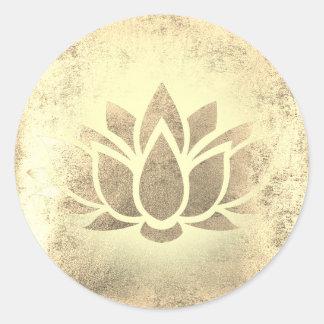 golden lotus flower classic round sticker