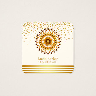 Golden Lotus Flower Confetti Yoga Meditation Spa Square Business Card