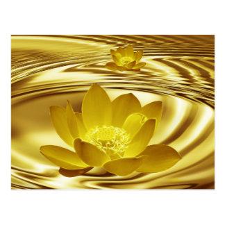 Golden lotus flower postcard