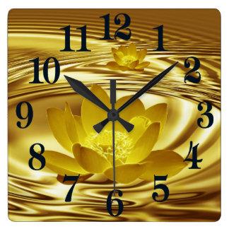 Golden lotus flower square wall clock