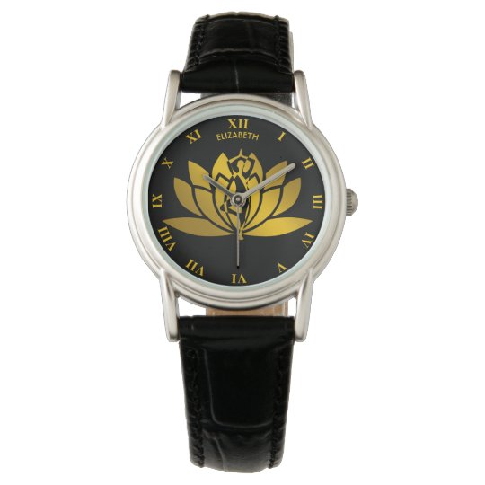 Golden Lotus Flower Yoga Meditation Cool Watch