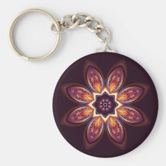 Golden Lotus Fractal Keychain