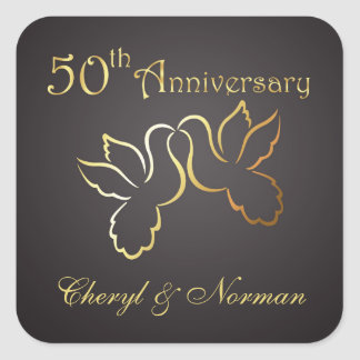 Golden love birds 50th Wedding Anniversary Sticker