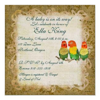 """Golden Love Birds Baby  Invitation 5.25"""" Square Invitation Card"""
